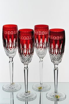 4 Waterford Clarendon Ruby Red Cut to Clear Crystal Wine Champagne Flutes New