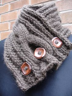 Your place to buy and sell all things handmade Knit Cowl, Neck Scarves, Neck Warmer, Hand Knitting, Buttons, Wool, Pattern, How To Make, Model