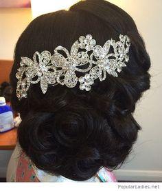 Curly bun with a hair accessory
