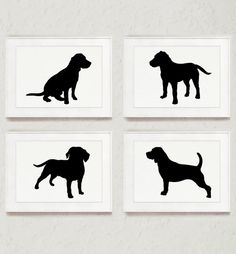 Beagle Set of 4, Dog Drawing, Abstract Animal Ink Painting, Dog Figurine Illustration, Black Silhouette Art Print by Silhouetown on Etsy