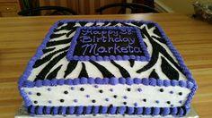 Zebra battered birthday cake.