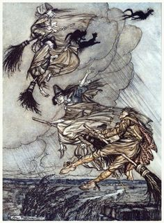 Hey! Up the chimney, lass! Hey after you! Arthur Rackham, frontispiece from The Ingoldsby legends, by Thomas Ingoldsby (Richard H. Barham), London, New York, 1907. (Source: archive.org.)