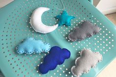 Add a soft dreaminess to any room with this felt moon and star mobile. Perfect for kids to sew and for a nursery!