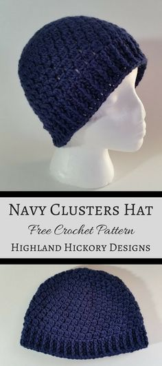 Navy Clusters Hat - Free Crochet Pattern - Highland Hickory Designs - - Free crochet pattern for The Navy Clusters Hat. Pair it with the matching Infinity scarf! This hat works up quickly and easily. Crochet Patterns Free Women, Free Crochet, Knit Crochet, Crochet Hats, Hat Patterns, Crochet Scarves, Knitting Patterns, Crochet Things, Crochet Braids