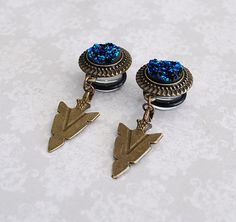 Blue Druzy in the Tribe Dangle Plugs - 4g, 2g, 0g, 00g by ryarr