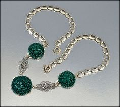 Art Deco Necklace Sterling Silver Marcasite Green by boylerpf, $85.00