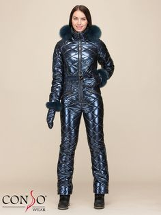 Overalls the warmed female WEJF 190552 chrome - to . Daily Fashion, Fashion Beauty, Ski Jumpsuit, Down Suit, Winter Suit, Raincoat Jacket, Jumpsuits For Women, Winter Outfits, Sexy
