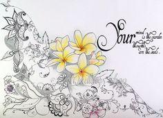 Original Zentangle Doodle Drawing Art Your garden by BestQuillings