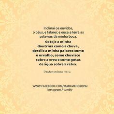 Inclinai os ouvidos, ó céus, e falarei; e ouça a terra as palavras da minha boca. Goteje a minha doutrina como a chuva, destile a minha palavra como o orvalho, como chuvisco sobre a erva e como gotas de água sobre a relva. Deuteronômio 32:1,2 *Instagram http://instagram.com/maravilhosopai  #maravilhosopai #god  #fé #faith #vesículos #sweet #bíblia #Deusnocontrole #Deus  #promessa#inspiração