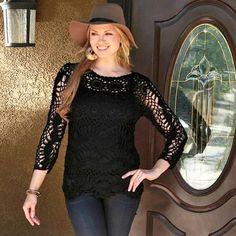 Black Crochet Three-Quarter Sleeve Tunic #zulilyfinds