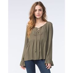 Socialite Womens Lace Lip Babydoll Top ($30) ❤ liked on Polyvore featuring tops, olive, lace top, brown tops, brown lace top, lace bell sleeve top and baby doll tops