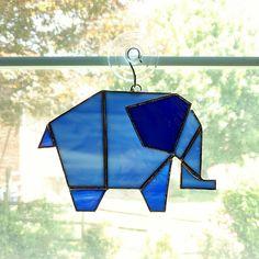 Elephant Stained Glass Suncatcher - Elephant Ornament - Blue Elephant - Glass Animal - Origami Elephant - Geometric Art - Glass Art - Safari