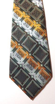 201f3c7642f4 RETRO KIPPER NECK TIE by PAUL GRECO Green, Orange, Multi Design 1970s FREE  P&P