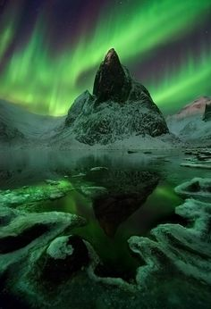 """Aurora Wilderness"" by Marc Adamus. The Aurora display over jagged peaks in the Beautiful Sky, Beautiful Landscapes, Beautiful World, Beautiful Places, Beautiful Pictures, Aurora Borealis, Natural Phenomena, Amazing Nature, Night Skies"