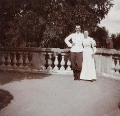 """Grand Duke Mikhail Alexandrovich Romanov of Russia and his younger sister,the Grand Duchess Olga Alexandrovna Romanova of Russia at Gatchina in 1900.   """"AL"""""""