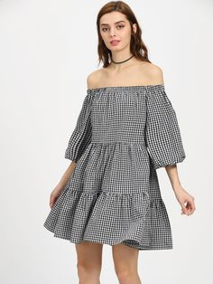Shop Lantern Sleeve Tiered Gingham Bardot Dress online. SheIn offers Lantern Sleeve Tiered Gingham Bardot Dress & more to fit your fashionable needs.