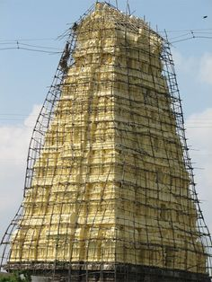 Asia's Crazy Bamboo Scaffolding - The Sri Ekambaranathar temple in southern India.