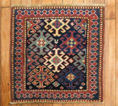 Details about Antique Caucasian Shirvan Kazak Rug Size Hand Knotted Rugs, Hand Weaving, Art Chinois, Art Japonais, Coordinating Colors, Star Patterns, Oriental Rug, Textiles, Rugs On Carpet