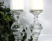 40% OFF Pair Candelabra Upcycled One of a Kind Candle Holders Matching Candlestick Towers