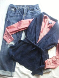 Ladies Size 4-3 piece outfit complete!-Ann taylor jeans/wrap sweater/long sleeve blouse @eBay