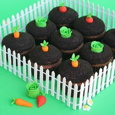 "Garden-Theme Cupcakes Why not welcome spring by baking a sweet little garden of your own! You can create the adorable little fondant vegetables in just a few easy steps, then ""plant"" them into cookie crumb-coated chocolate icing to give a real gar"