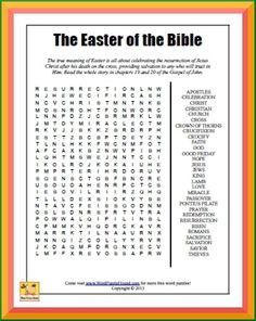 The true meaning of Easter is all about celebrating the resurrection of Jesus Christ after His death on the cross, providing salvation to any who will trust in Him. Read the whole story in chapters 19 and 20 of the Gospel of John. Sunday School Lessons, Sunday School Crafts, Easter Puzzles, Code Talker, Bible Games, Word Games, Easter Activities, Easter Games, Scout Activities