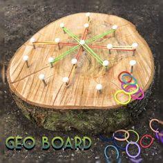 DIY geo board and loom bands. Outdoor Education, Outdoor Learning Spaces, Kids Outdoor Play, Outdoor Play Areas, Forest School Activities, Preschool Activities, Outdoor Activities, Outdoor Games, Summer Activities