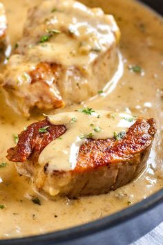 This easy blue cheese sauce is so easy to make with simple ingredients and tastes delicious with pork medallions.