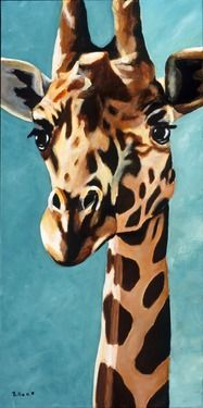 Original Fine Art Painting of a Giraffe - Gentle Giant