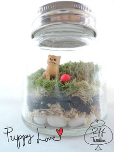 Puppy Love Terrarium - (8 cm.L x 10 cm.H) Happy Friday ! May your Friday be as sweet as your first puppy love !~ #puffterrariums https://www.facebook.com/puffterrariums