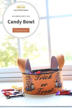 Greet trick or treaters with an adorable handmade Halloween candy bowl. Decorate the outside with your favorite Halloween embroidery designs and fonts. // Project by Lindsay Wilkes | The Cottage Mama // Project instructions are available through the link. The embroidery designs are found on select Baby Lock embroidery machine models.