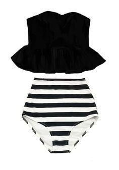 Black Long Top and Stripe Stripes High waisted waist rise cut Retro Bottom Bikini Swimsuit Swimwear Swim Bathing suit dress wear suits S M L by venderstore on Etsy