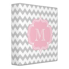 Elegant Pink and Gray Geometric ZigZag Design 3 Ring Binder