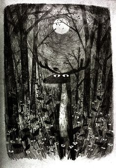 I like the use of light in this image, the way that the forest is lit by the moon.  Image created by Jon klassen - Moon Deer