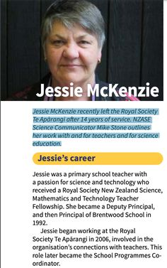 Jessie McKenzie recently left the Royal Society Te Apārangi after 14 years of service. NZASE Science Communicator Mike Stone outlines her work with and for teachers and for science education. Science Education, Science And Technology, Primary School Teacher, Royal Society, Outlines, Jessie, Career, Stone, Women