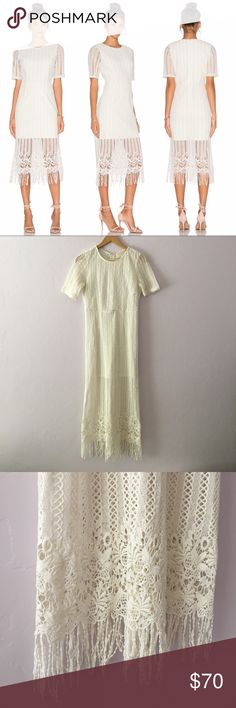 J.O.A. Fringe Midi Dress Beautiful white mid-length dress with intricate fringe detailing. In excellent condition- looks brand new!! Brand is J.O.A. NOT Keepsake the Label but brands are very similar in both price and quality. Bought on Revolve. This dress is sold out online. KEEPSAKE the Label Dresses Midi