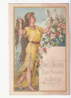 Hair Tonic Trade Card Tonico Oriental Yellow Dress Mirror (spanish) Victorian Trade Card  c 1880s
