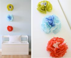 wall flowers made out of napkins - tutorial