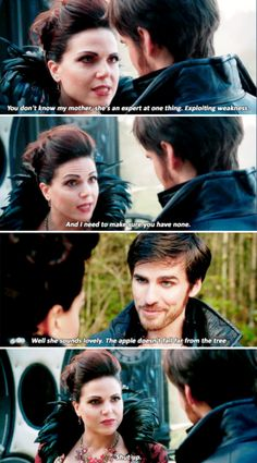 """""""You don't know my mother, she's an expert at one thing: Exploiting weakness. And I need to make sure you have none"""" - Regina and Captain Hook #OnceUponATime"""