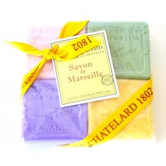 Scented Marseille Guest Soaps: Rose, Olive, Lavender, Royal Jelly.