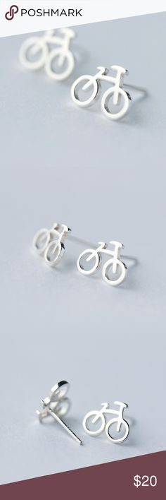 925 Sterling Silver Bicycle Bike Stud Earrings These adorable bicycle stud earrings are made from 925 Sterling Silver. Adds a cute touch to any outfit and great for bike lovers.  Bike earrings come with a gift box and clear rubber backings.  Feel free to let me know if you have any questions. Happy to help! :) Jewelry Earrings