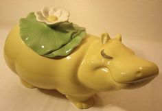 RARE Vintage Mint Hard to Find Metlox Bubbles The Hippo Cookie Jar in Yellow |Designed by Vincent Martinez in the late 70s or early 80s. He worked for Metlox for 31 years, and this jar represents a wonderful example of his work