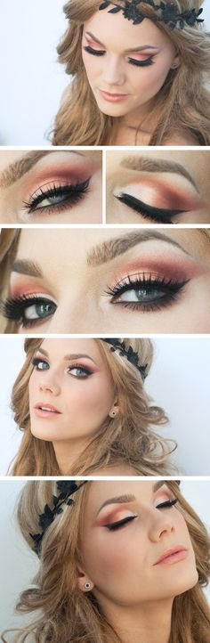 Peach makeup.  Also love the hair
