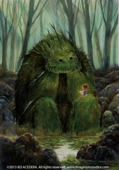 Eines Tages traf das kleine Mädchen im Wald auf ein Monster. Es schien nicht b… One day, the little girl in the woods met a monster. It did not seem to be bad, and as it did not leave the side of the girl, it began to read to him. Art And Illustration, Art Illustrations, Character Illustration, Fantasy Kunst, Inspiration Art, Wow Art, Magical Creatures, Forest Creatures, Fantasy World