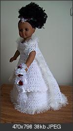 "Free Crochet pattern for Winter Wedding Dress for 18"" doll. So cute!"