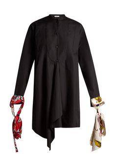 Contrast-cuff asymmetric-hem cotton shirt | JW Anderson | MATCHESFASHION.COM