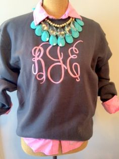 Monogrammed Sweatshirt Charcoal Gray by SweetTsFancies on Etsy, $28.00