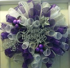 Christmas Wreath purple white and silver by CrochetByFrances