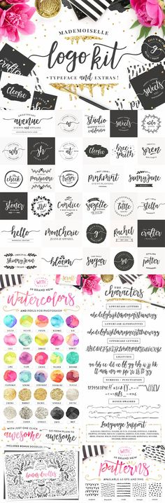 Mademoiselle + LOGO KIT & Extras! by Pink Coffie on @creativemarket Creative logo design inspiration, perfect for a modern business branding with perfect font and typography selection. Take some ideas or use this feminine, elegant, nature, floral and also hipster set.