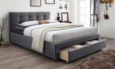 King bed frame and headboard is upholstered for a soft look and features a pull-out drawer for storing bedding supplies Diy Storage Ideas For Small Bedrooms, Small Bedroom Storage, Bed Storage, Queen Size Platform Bed, Platform Bed Frame, Upholstered Platform Bed, Bed Frame And Headboard, Headboards For Beds, Headboard Ideas